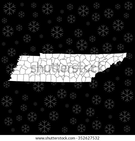 map of Tennessee - stock vector