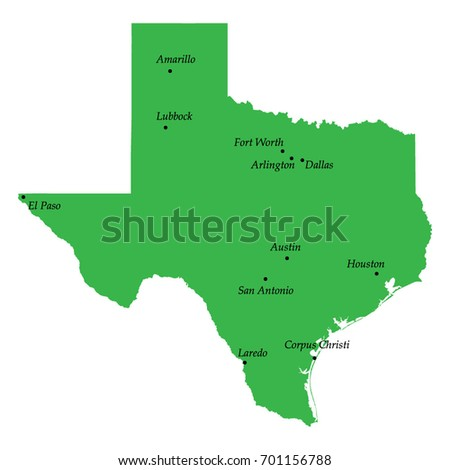 Map Texas State USA Main Cities Stock Vector 701156788 Shutterstock