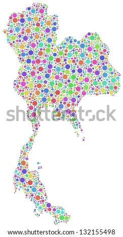 Map of Thailand - Asia - in a mosaic of harlequin bubbles. A number of 2225 circles are accurately inserted into the mosaic. White background.