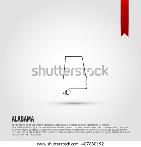 Map of the Alabama state. Vector illustration design element. Flat style design icon. - stock vector