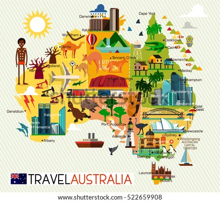 map of the australia and travel icons australia travel map vector illustration