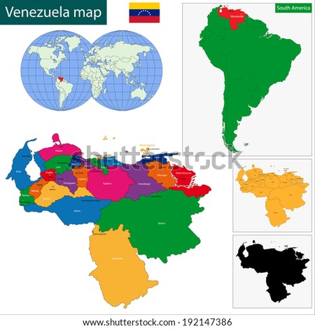 Map of the Bolivarian Republic of Venezuela with the states colored in bright colors and the main cities - stock vector