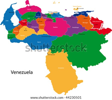 Map of the Bolivarian Republic of Venezuela with the states colored in bright colors and the main cities. - stock vector