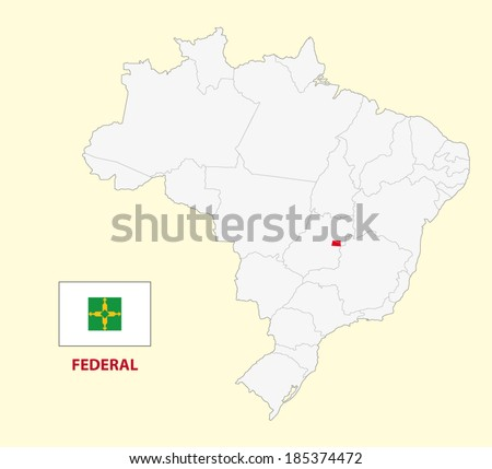map of the brazilian state federal district with flag - stock vector