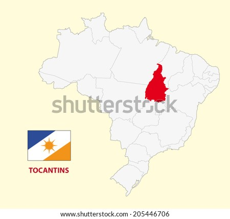 map of the Brazilian State tocantins with flag - stock vector