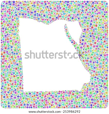 Map of the Egypt - Africa - into a square icon. Mosaic of harlequin circles  - stock vector