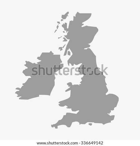 Map  of the Great Britain in gray on a white background - stock vector