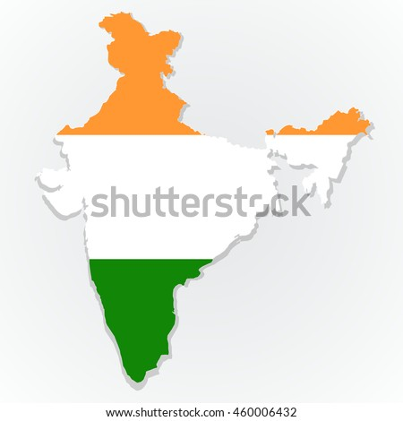 Map of the India with national flag isolated on gray background. Indian flag overlay on Indian map. Vector illustration - stock vector