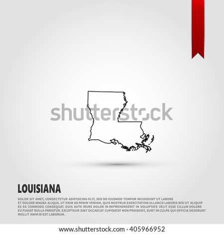 Map of the Louisiana state. Vector illustration design element. Flat style design icon. - stock vector