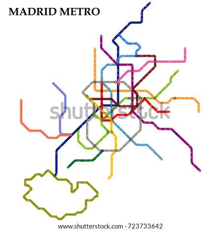 Map Madrid Metro Subway Template City Stock Vector 723733642