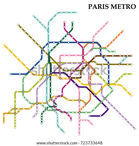 map of the paris metro subway template of city transportation scheme for underground road