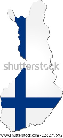 Map of the Republic of Finland with national flag isolated on white background - stock vector
