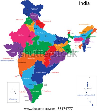 Map of the Republic of India with the states colored in bright colors - stock vector