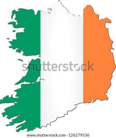 Map of the Republic of Ireland with national flag isolated on white background - stock vector