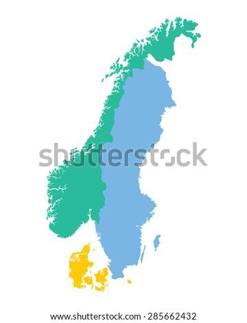 map of the Scandinavian countries (Norway, Sweden and Denmark) - stock vector