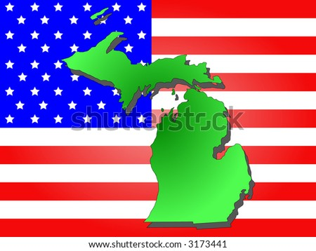 Map State Michigan American Flag Stock Vector Shutterstock - Map of the state of michigan