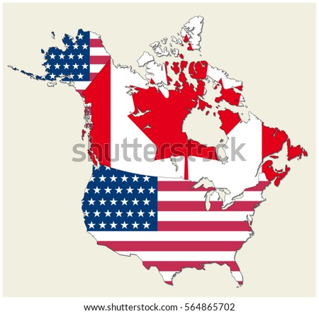 Map Of The States Of Canada And Usa Represented As Flag