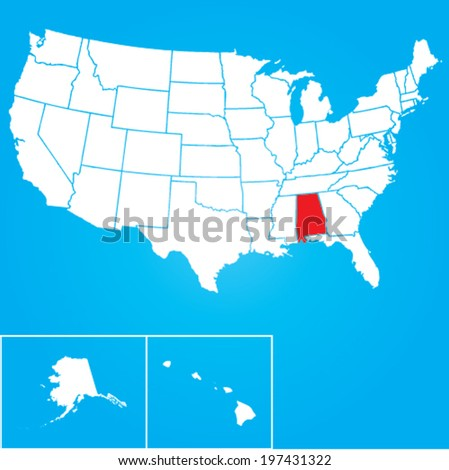 Map of the the United States of America with the states of Alabama selected