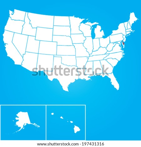 Map of the the United States of American with the states of Delaware selected - stock vector