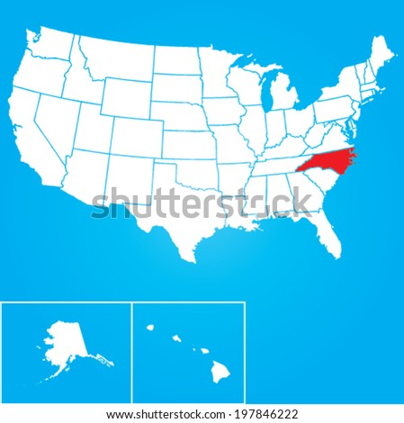 Map of the the United States of American with the states of North Carolina selected