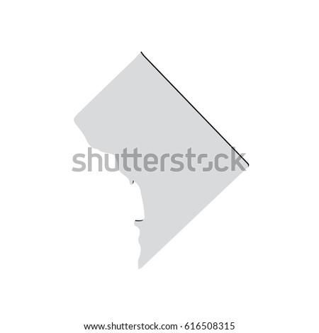 Map Us District Columbia Stock Vector 616508315 Shutterstock