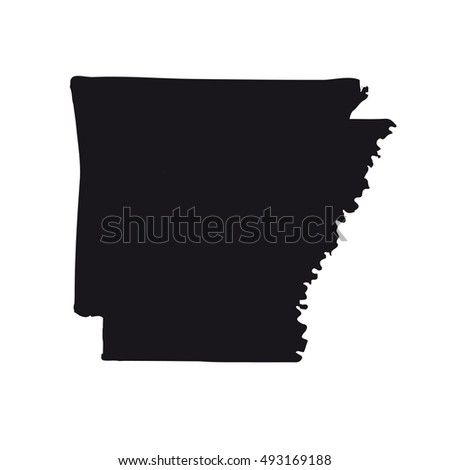 Map Of The U S State Of Arkansas On A White Background