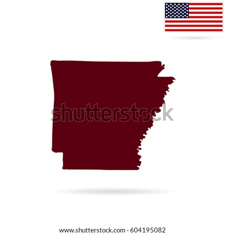 Map Us State Arkansas On White Stock Vector Shutterstock - Us map all white red background