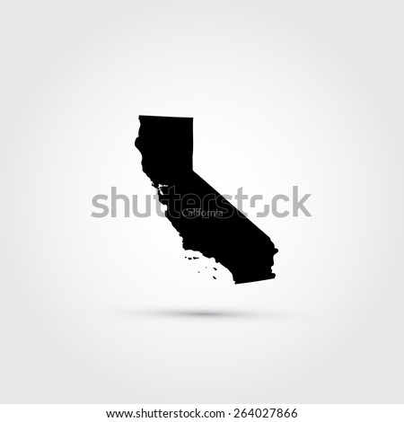 Map of the U.S. state of California - stock vector