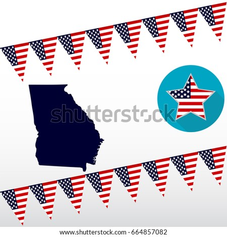 Map Us State Georgia On White Stock Vector Shutterstock - Georgia on us map