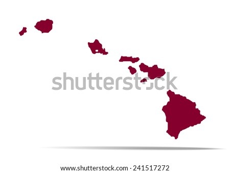 Map of the U.S. state of Hawaii on a white background   - stock vector