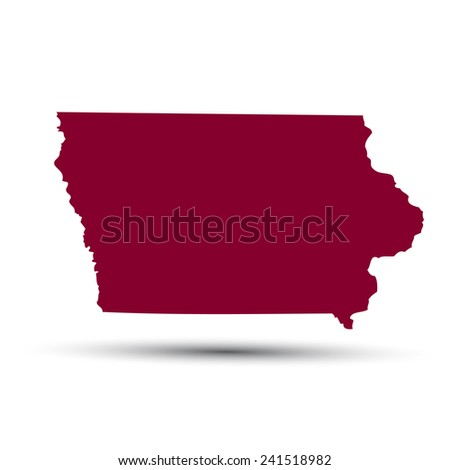 Map Us State Iowa On White Stock Vector Shutterstock - Us map all white red background