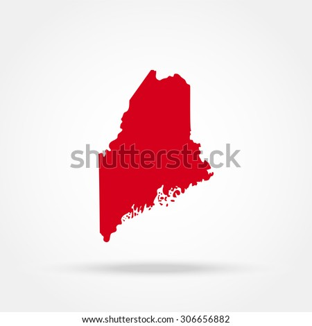 map of the U.S. state of Maine  - stock vector