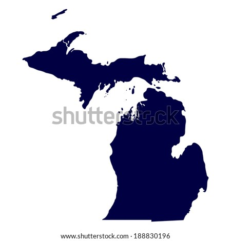 map of the U.S. state of Michigan  - stock vector