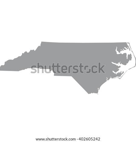 North Carolina Map Gray On White Stock Vector Shutterstock - Gray map us