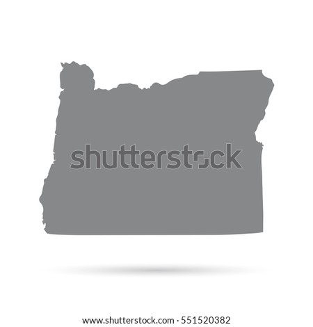 Map Of The U S State Of Oregon On A White Background