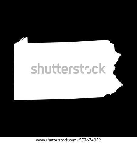 Pennsylvania State Map Gray On Black Stock Vector - Map of us black