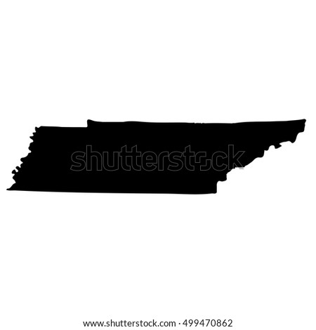 Map Of The U S State Of Tennessee On A White Background