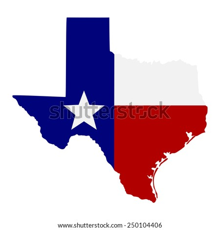 map of the U.S. state of Texas  - stock vector