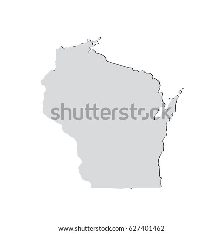 Map Us State Wisconsin Stock Vector Shutterstock - Wisconsin on a us map