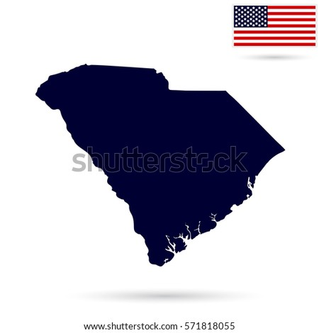 Map Us State South Carolina American Stock Vector - Us state flag map