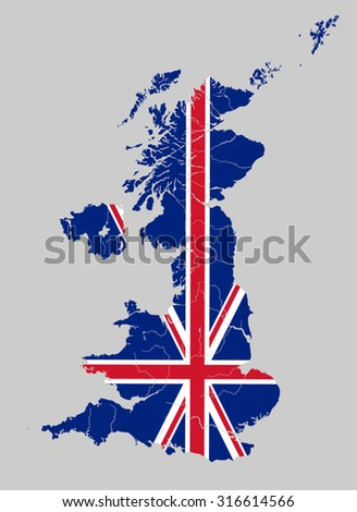 Map of the United Kingdom with rivers on the British flag.