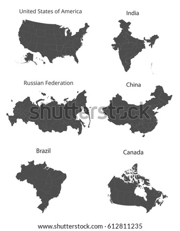 Map united states india russia china stock vector 612811235 map of the united states india russia china canada and brazil gumiabroncs Image collections
