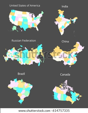 map of the united states india russia china canada and brazil