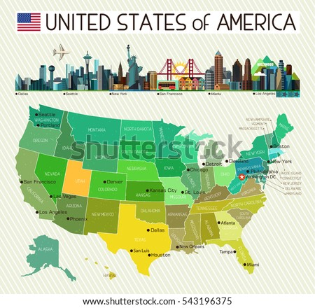 Map United States America City Icons Stock Vector - Map of united states of america