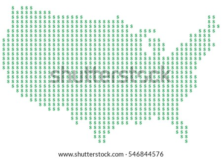 Map of the United States of America made of dots in the form of dollar signs, vector illustration.