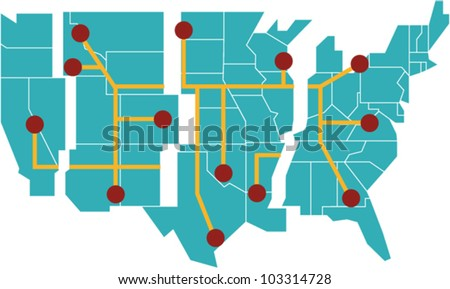 Map Of The United States Separated By Regions.Map United States Separated Into Regions Stock Vector Royalty Free