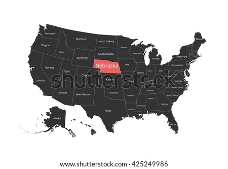 Map of the USA. Image with clipping path and name of states. State mark. Nebraska. Vector illustration. - stock vector