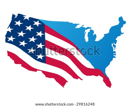 map of the usa on white - stock vector