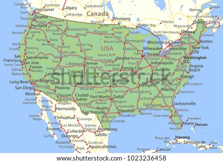 Map Usa Shows Country Borders Place Stock Vector 1023236458