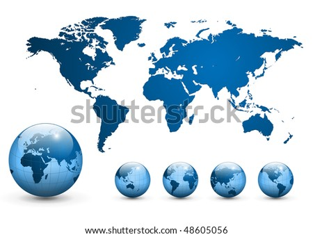 Map of the world and earth globe, vector. - stock vector